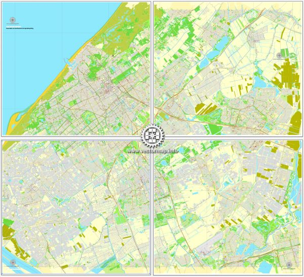 Vector map The Hague / Den Haag, Netherlands, printable vector street City Plan map in 4 parts, full editable, Adobe Illustrator