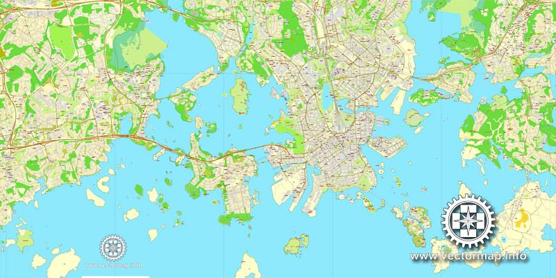 Helsinki, Finland, printable vector street City Plan map V.2, full editable, Adobe Illustrator