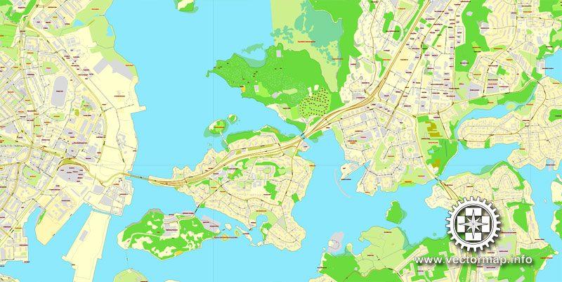 Vector map Helsinki, Finland, printable vector street City Plan map V.2, full editable, Adobe Illustrator