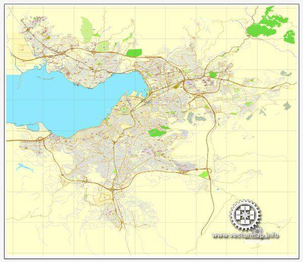 Vector Map Izmir, Turkey, printable vector street City Plan map, full editable, Adobe Illustrator, full vector, scalable, editable, text format street names, 6,3 mb ZIP