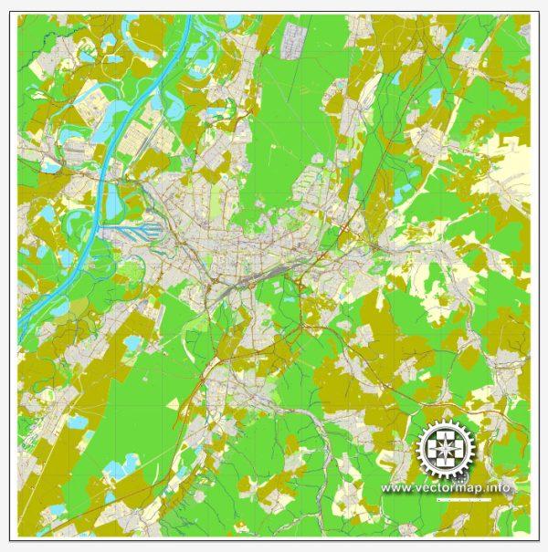 Vector Map Karlsruhe, Germany, printable vector street City Plan map, full editable, Adobe Illustrator, full vector, scalable, editable, text format street names, 18,6 mb ZIP
