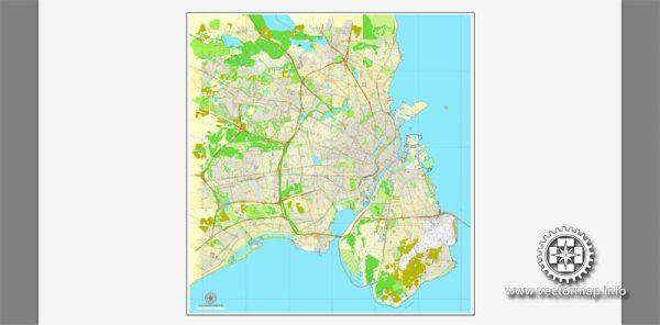 Vector map Copenhagen / København, Denmark, printable vector street City Plan map V.2, full editable, Adobe Illustrator