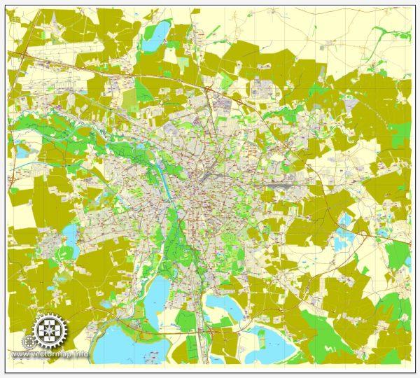 Vector map Leipzig, Germany, printable vector street City Plan map, full editable, Adobe Illustrator, full vector, scalable, editable, text format street names, 12,8 mb ZIP