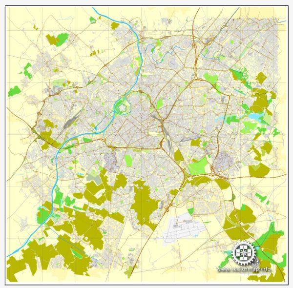 Vector Map Lille, France, printable vector street City Plan map V.2, full editable, Adobe Illustrator, full vector, scalable, editable, text format street names, 25,6 mb ZIP