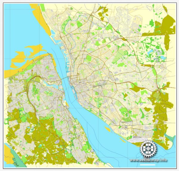 Vector map Liverpool + Birkenhead, England, printable vector street City Plan map, full editable, Adobe Illustrator, full vector, scalable, editable, text format street names, 17,7 mb ZIP