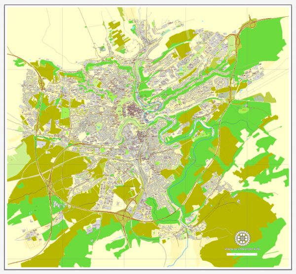 Vector map Luxembourg City, Luxembourg, printable vector street City Plan map, full editable, Adobe Illustrator, full vector, scalable, editable, text format street names, 2,7 mb ZIP