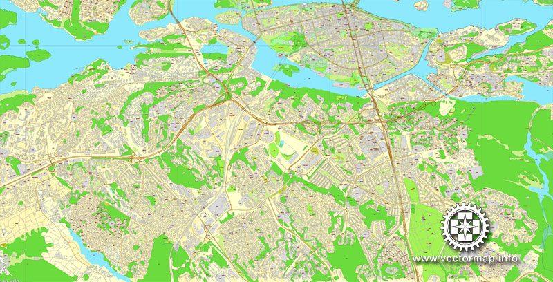 Vector map Stockholm, Sweden, printable vector street City Plan map V.3, full editable, Adobe Illustrator,