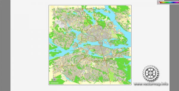 Vector map Stockholm, Sweden, printable vector street City Plan map V.3, full editable, Adobe Illustrator,