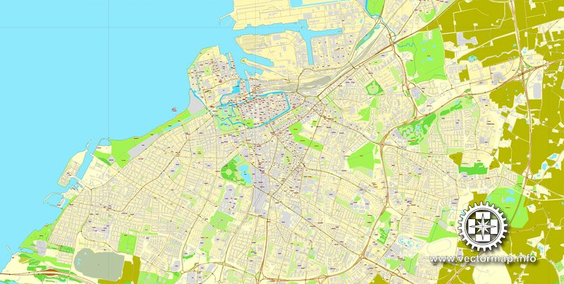 Vector Map Malmo, Sweden, printable vector street map, City Plan full editable, Adobe Illustrator, Royalty free, full vector, scalable, editable, text format street names, 7,1 mb ZIP ALL streets, ALL Buildings.