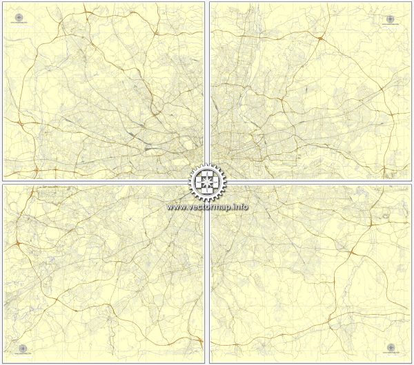 Vector Map London, England, printable vector street map, City Plan V.3 in 4 parts full editable, Adobe Illustrator, Royalty free, full vector, scalable, editable, text format street names, 54,5 mb ZIP Only ALL streets, no any more.