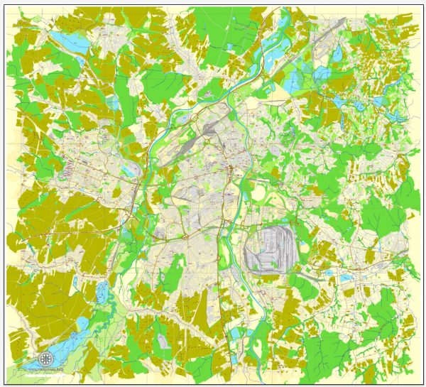 Vector Map Ostrava, Czech Republic, printable vector street map, City Plan full editable, Adobe Illustrator, Royalty free, full vector, scalable, editable, text format street names, 10,6 mb ZIP ALL streets, ALL Buildings.