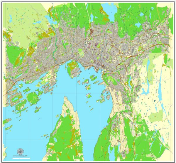 Vector Map Oslo, Norway, printable vector street map, City Plan V.2 full editable, Adobe Illustrator, Royalty free, full vector, scalable, editable, text format street names, 15,1 mb ZIP All streets, All buildings.