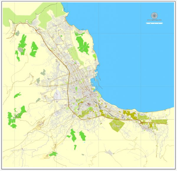 Vector Map Palermo, Sicily, Italy, printable vector street map, City Plan full editable, Adobe Illustrator, Royalty free, full vector, scalable, editable, text format street names, 9,3 mb ZIP