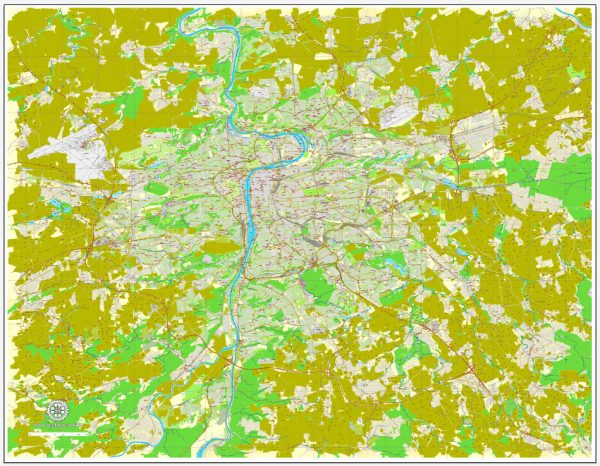 Vector Map Prague / Praha, Czech Republic, printable vector street map, City Plan V.3 full editable, Adobe Illustrator, Royalty free, full vector, scalable, editable, text format street names, 35,6 mb ZIP All streets, All buildings.