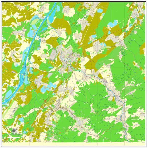 Vector Map Rastatt / Baden-Baden, Germany, printable vector street map, City Plan, full editable, Adobe Illustrator, Royalty free, full vector, scalable, editable, text format street names, 9,1 mb ZIP All streets, All buildings.