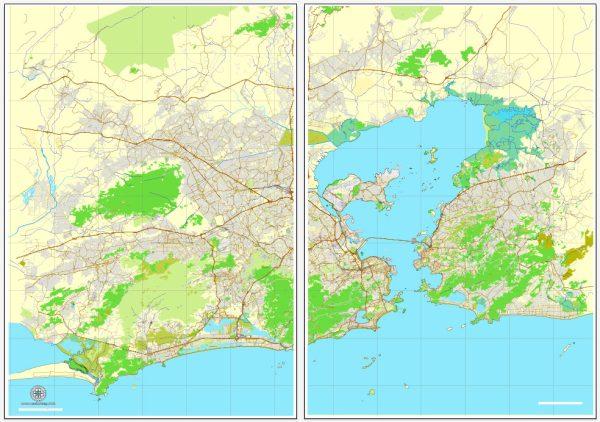 Vector Map Rio de Janeiro, Brazil, printable vector street map, City Plan V.2 in 2 parts full editable, Adobe Illustrator, Royalty free, full vector, scalable, editable, text format street names, 26,5 mb ZIP