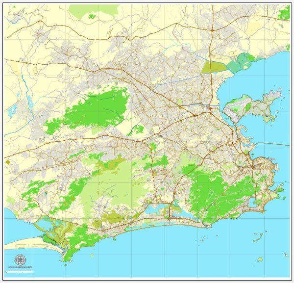 Vector Map Rio de Janeiro, Brazil, printable vector street map, City Plan V.3 full editable, Adobe Illustrator, Royalty free, full vector, scalable, editable, text format street names, 19,8 mb ZIP