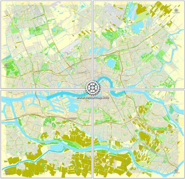Vector Map Rotterdam, Netherlands, printable vector street map, City Plan V.2 in 4 parts full editable, Adobe Illustrator, Royalty free, full vector, scalable, editable, text format street names, 48,9 mb ZIP