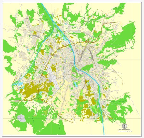 Vector Map Salzburg, Austria, printable vector street map, City Plan full editable, Adobe Illustrator, Royalty free, full vector, scalable, editable, text format street names, 7,2 mb ZIP ALL streets, ALL Buildings.