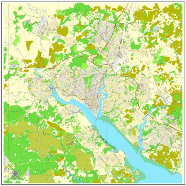 Vector Map Southampton, Englang, printable vector street map, City Plan V.2, full editable, Adobe Illustrator, Royalty free, full vector, scalable, editable, text format street names, 12,5 mb ZIP