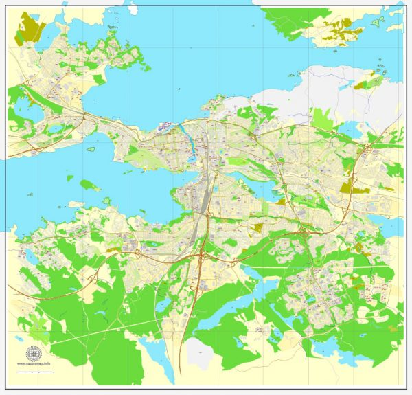 Vector Map Tampere, Finland, printable vector street map, City Plan full editable, Adobe Illustrator, Royalty free, full vector, scalable, editable, text format street names, 5,0 mb ZIP All streets, All buildings.