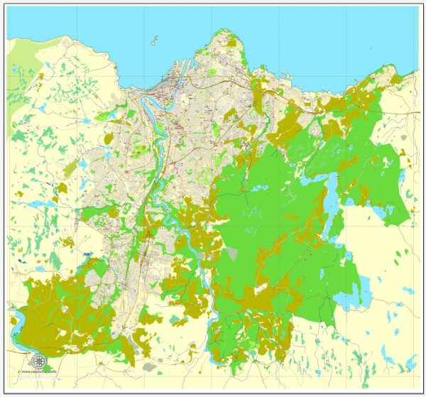 Vector Map Trondheim, Norway, printable vector street map, City Plan full editable, Adobe Illustrator, Royalty free, full vector, scalable, editable, text format street names, 5,7 mb ZIP ALL streets, All Buildings.