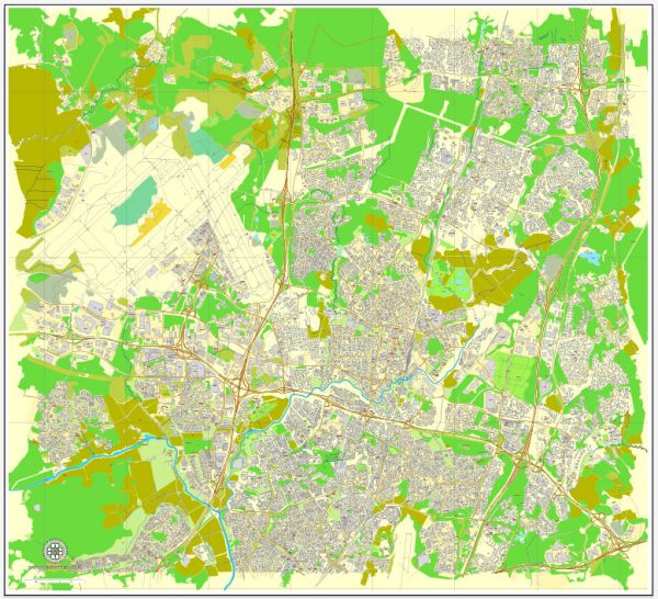 Vantaa, Finland, printable vector street map, City Plan, full editable, Adobe Illustrator, Royalty free, full vector, scalable, editable, text format street names, 6,0 mb ZIP All streets, All buildings.