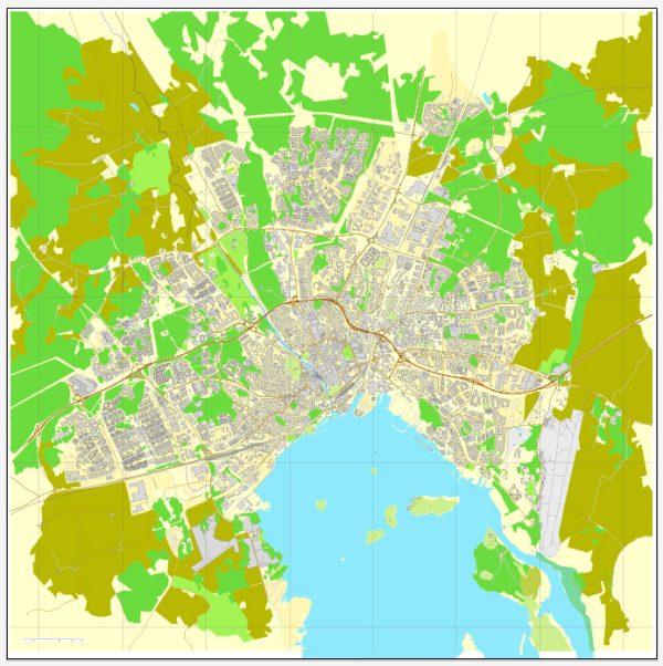 Vector Map Västerås / Vasteras, Sweden, printable vector street map, City Plan, full editable, Adobe Illustrator, Royalty free, full vector, scalable, editable, text format street names, 2,7 mb ZIP