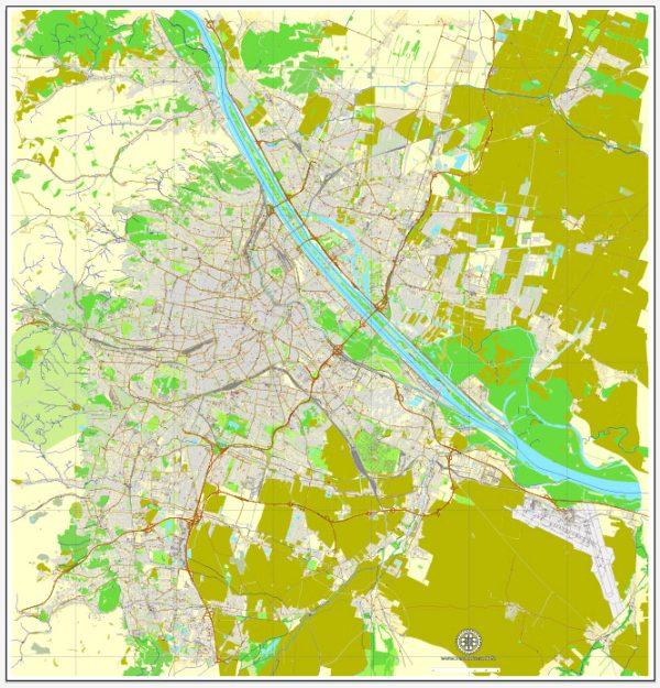 Vector Map Vienna / Wien, Austria, printable vector street map, City Plan V.2, full editable, Adobe Illustrator, Royalty free, full vector, scalable, editable, text format street names, 32,6 mb ZIP