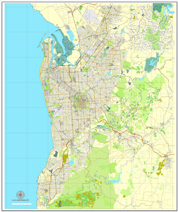 Vector Map Adelaide, Australia, printable vector street City Plan map V3-2016.08, full editable, Adobe Illustrator, full vector, scalable, editable, text format street names, 19 mb ZIP