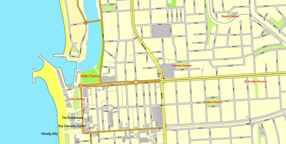 Adelaide Street Map Australia printable vector  City Plan V3.21 editable Adobe Illustrator