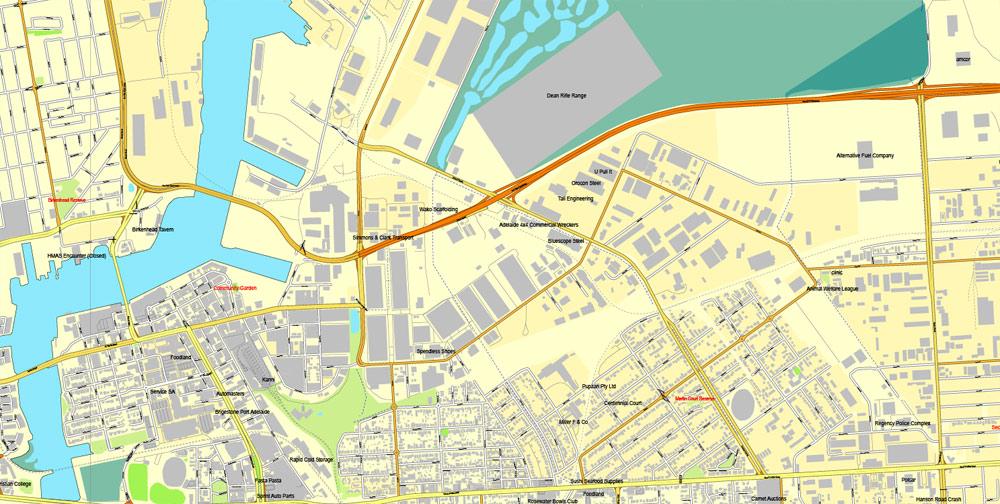 Vector Map Adelaide, Australia, printable vector street City Plan map V3-2016.08, full editable, Adobe Illustrator, full vector, scalable, editable, text format street names, 19 mb ZIP