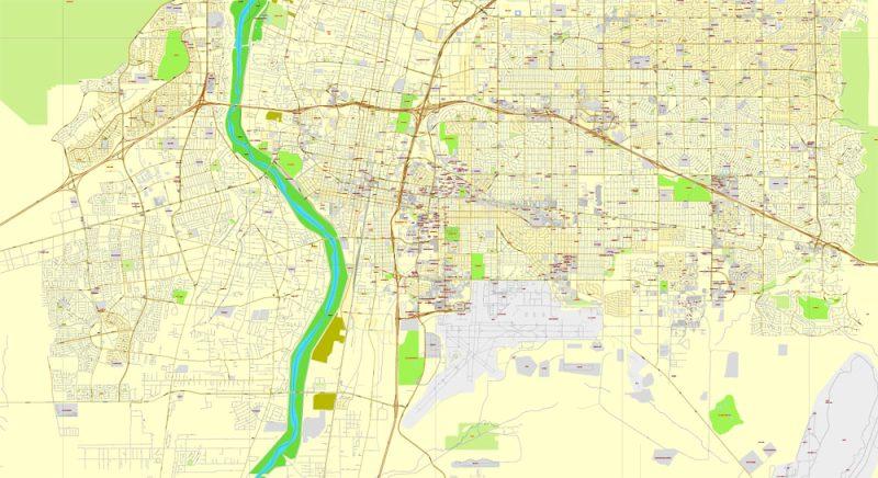 Albuquerque, New Mexico, US, exact map: Printable City Plan Map, Adobe Illustrator