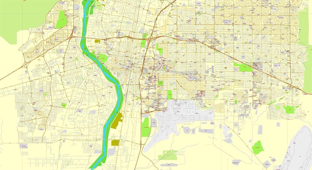 Albuquerque, New Mexico, US, exact map: Printable City Plan Map, Adobe PDF