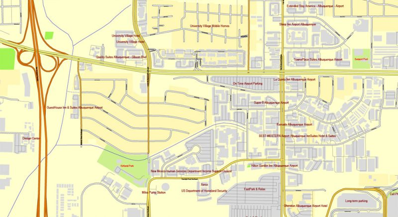 Vector Map Albuquerque, New Mexico, US, exact map: Printable City Plan Map, Adobe Illustrator, full vector, scalable, editable, separated text layer street names, 10 mb ZIP