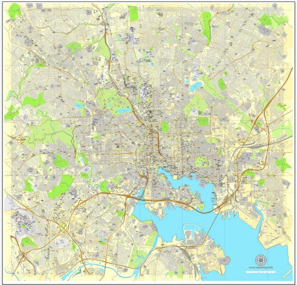 Vector Map Baltimore, Maryland, printable vector street City Plan map V3-2016.08, full editable, Adobe Illustrator, full vector, scalable, editable, text format street names, 26 mb ZIP
