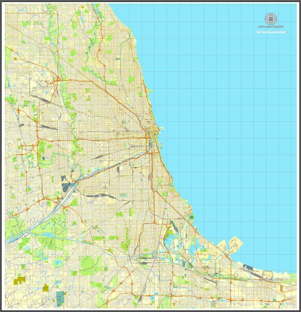 Chicago, Illinois, US, vector map Adobe Illustrator editable City Plan V3, full vector, scalable, editable