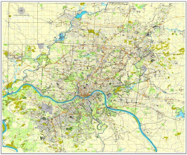 Vector Map Cincinnati, Ohio, US, vector map Adobe Illustrator editable City Plan V3-2016.08, full vector, scalable, printable, text format street names, 33 mb ZIP
