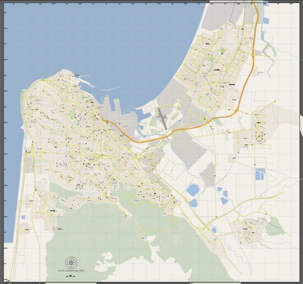 Vector Map Haifa, Israel, printable vector street City Plan G-View V.3 map full editable, Adobe Illustrator, full vector, scalable, editable, text format street names, 4 mb ZIP