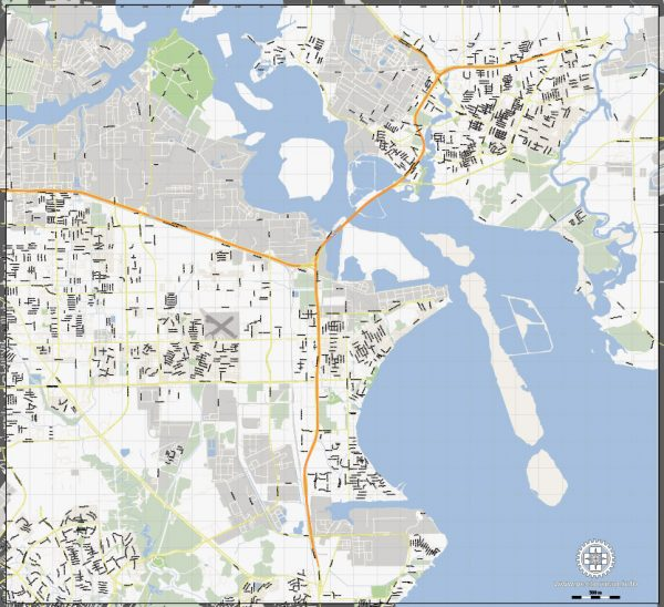 Vector Map La Porte + Baytown, Texas, US, printable vector street G-View map level 15, full editable, Adobe Illustrator, full vector, scalable, editable, text format street names, 5 mb ZIP