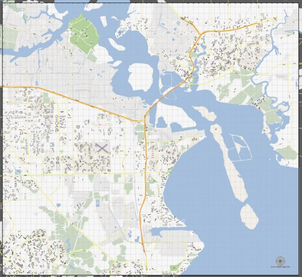 Vector Map La Porte + Baytown, Texas, US, printable vector street G-View map level 16, full editable, Adobe Illustrator, full vector, scalable, editable, text format street names, 6 mb ZIP