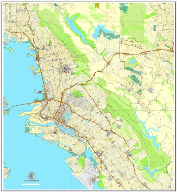Vector Map Oakland + Berkeley, California, US, vector map Adobe Illustrator editable City Plan V5-2016.08, full vector, scalable, printable, text format street names, 10 mb ZIP
