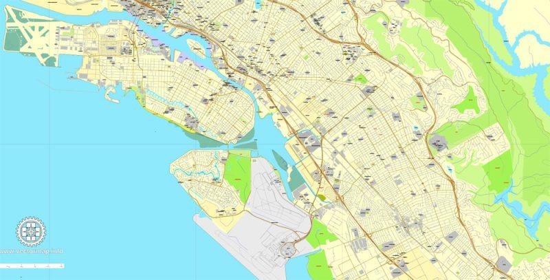 Alameda + Oakland + Berkeley, California, US, vector map Adobe Illustrator editable City Plan V5-2016.08, full vector, scalable, printable