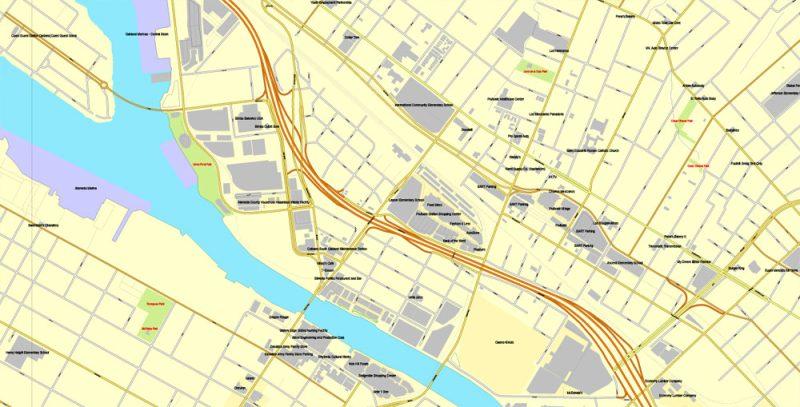 Vector Map Oakland + Berkeley, California, US, vector map Adobe Illustrator editable City Plan V5-2016.08, full vector, scalable, printable, text format street names, 10 mb ZIP