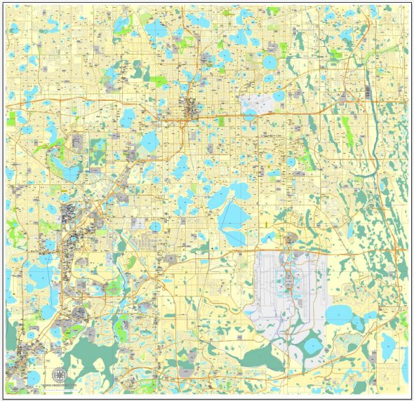 Vector Map Orlando, Florida, exact printable vector street City Plan map V.3, full editable, Adobe Illustrator, full vector, scalable, editable, text format street names, 11 mb ZIP