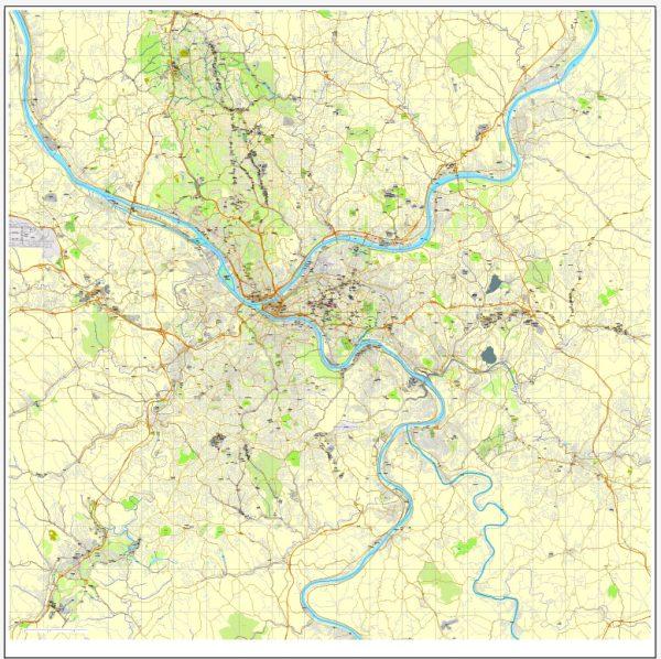 Vector Map Pittsburgh, Pennsylvania, US, vector map Adobe Illustrator editable City Plan V3-2016.07, full vector, scalable, editable, text format street names, 23 mb ZIP