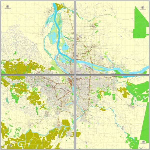 Vector Map Portland, Oregon + Vancouver, Washington, US, vector map Adobe Illustrator editable 4 parts City Plan V3-2016.08, full vector, scalable, editable, text format street names, 76 mb ZIP