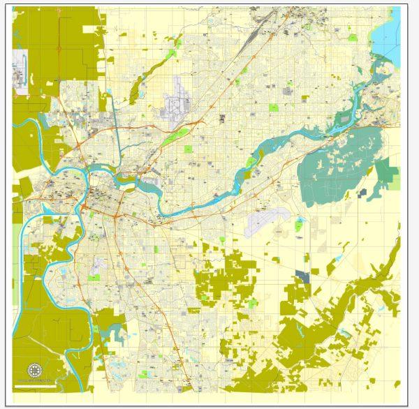 Sacramento, California, US, printable vector map street City Plan V.3.08.2016 full editable, Adobe Illustrator