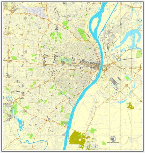 Saint Louis Map Vector Missouri US printable exact City Plan editable Adobe Illustrator Street Map