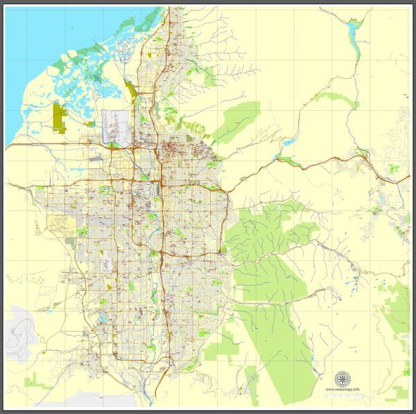 Vector Map Salt Lake City, Utah, printable vector street City Plan map V3-2016.08, full editable, Adobe Illustrator, full vector, scalable, editable, text format street names, 15 mb ZIP